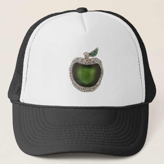 Emerald and Diamonds Jeweled Apple. Trucker Hat