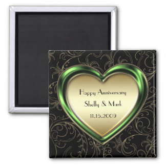 Emerald and Gold Heart Anniversary 2 Inch Square Magnet