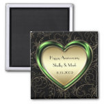 Emerald and Gold Heart Anniversary Magnets