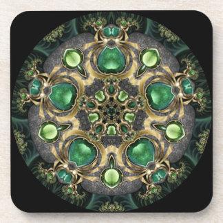 Emerald and Gold Kaleidoscope Drink Coaster