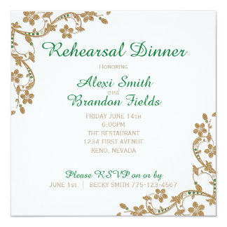 Emerald and Gold Wedding Rehersal Dinner Card