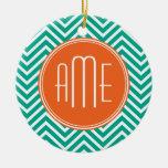 Emerald and Orange Chevrons Custom Triple Monogram Ceramic Ornament