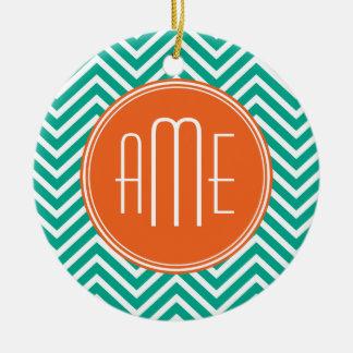 Emerald and Orange Chevrons Custom Triple Monogram Double-Sided Ceramic Round Christmas Ornament
