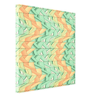 Emerald and salmon pattern canvas print