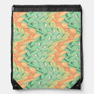 Emerald and salmon pattern drawstring bag