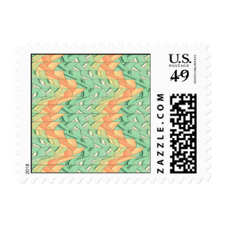 Emerald and salmon pattern postage