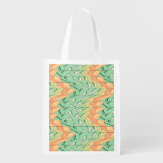 Emerald and salmon pattern reusable grocery bag