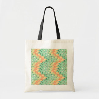 Emerald and salmon pattern tote bag
