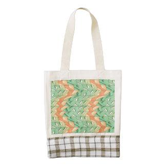 Emerald and salmon pattern zazzle HEART tote bag