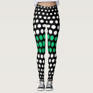 Emerald and White Polka Dot Pattern Leggings