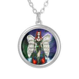 Emerald Angel Small Silver Plated Pendant Necklace