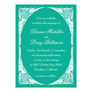 Emerald Art Nouveau Wedding Invitation