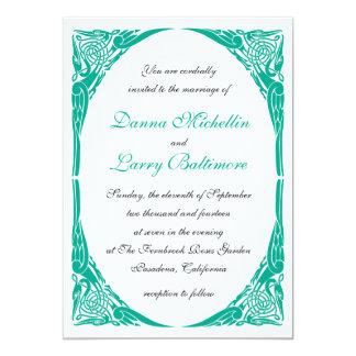 Emerald  Art Noveau Wedding Invitation