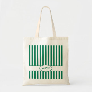 Emerald Autumnal Stripes with monogram Tote Bag