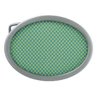 Emerald Belt Buckle, Blue and Green Polka Dots