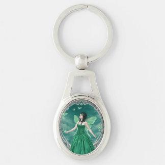 Emerald Birthstone Fairy Oval Keychain