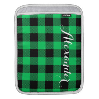 Emerald Black Buffalo Check Plaid Name Monogram iPad Sleeve