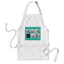 Emerald & Black Instagram 5 Photo Collage Monogram Adult Apron