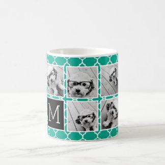 Emerald & Black Instagram 5 Photo Collage Monogram Coffee Mug