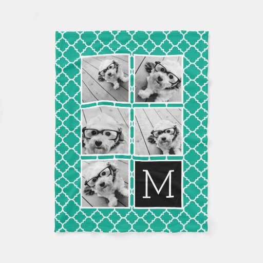 Zazzle Emerald & Black Instagram 5 Photo Collage Monogram...