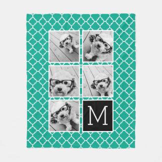 Emerald & Black Instagram 5 Photo Collage Monogram Fleece Blanket