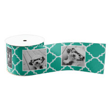 Emerald & Black Instagram 5 Photo Collage Monogram Grosgrain Ribbon