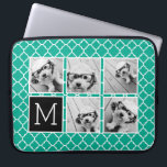 "Emerald &amp; Black Instagram 5 Photo Collage Monogram Laptop Sleeve<br><div class=""desc"">Green and White Quatrefoil Pattern - Use five square photos to create a unique and personal gift. Or you can keep the hipster puppy and make a trendy keepsake. If you need to adjust the pictures,  click on the customize tool to make changes.</div>"