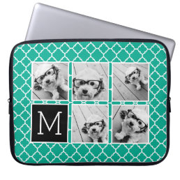 Emerald & Black Instagram 5 Photo Collage Monogram Laptop Sleeve