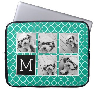 Emerald & Black Instagram 5 Photo Collage Monogram Laptop Sleeve