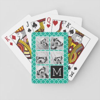Emerald & Black Instagram 5 Photo Collage Monogram Playing Cards