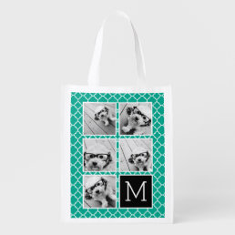 Emerald & Black Instagram 5 Photo Collage Monogram Reusable Grocery Bag