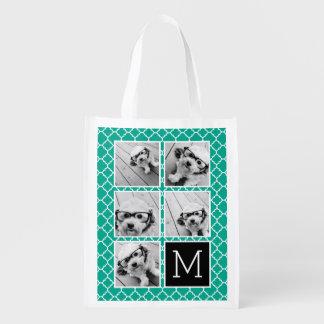 Emerald & Black Instagram 5 Photo Collage Monogram Reusable Grocery Bag