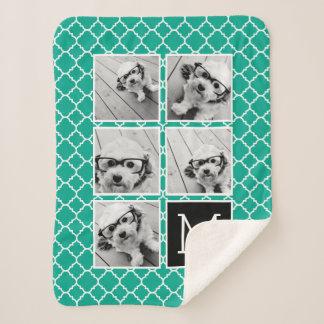 Emerald & Black Instagram 5 Photo Collage Monogram Sherpa Blanket