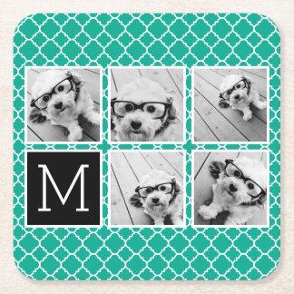 Emerald & Black Instagram 5 Photo Collage Monogram Square Paper Coaster