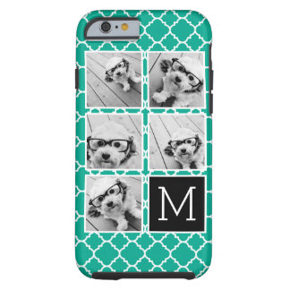 Emerald & Black Instagram 5 Photo Collage Monogram Tough iPhone 6 Case