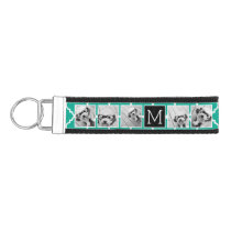 Emerald & Black Instagram 5 Photo Collage Monogram Wrist Keychain
