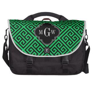 Emerald Blk Med Greek Key Diag T Black 3I Monogram Laptop Commuter Bag