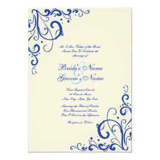 Emerald Blue and Cream Flourish Wedding Invitation