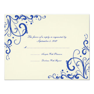 Emerald Blue and Cream Flourish Wedding RSVP Card