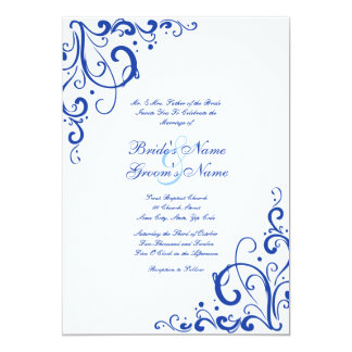 Emerald Blue and White Flourish Wedding Invitation