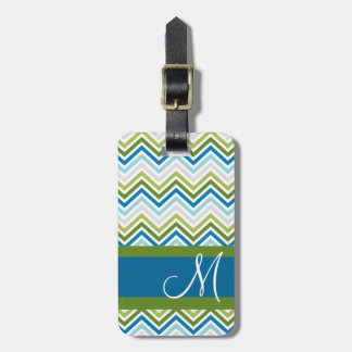Emerald Blue Chevron Pattern with Monogram Tags For Luggage