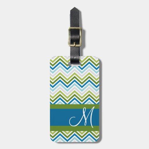 Emerald & Blue Chevron Pattern with Monogram Travel Bag Tags