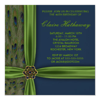 Emerald Blue Peacock 40th Birthday Party Announcement