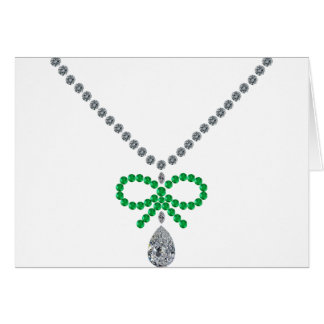 Emerald Bow Necklace Greeting Card