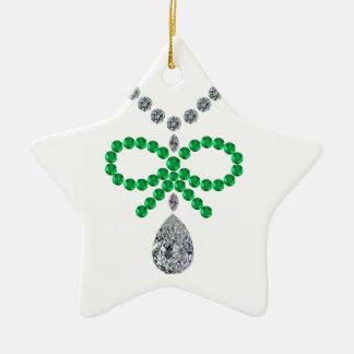 Emerald Bow Necklace Ceramic Ornament