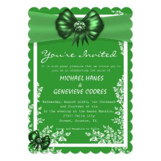 Emerald Bow With Diamond Floral Wedding Invitation