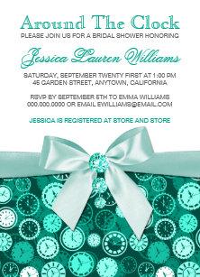 emerald bridal shower theme around the clock invitation