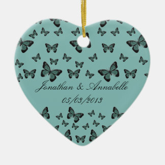 Emerald Butterflies Save The Date Keepsake Ceramic Ornament