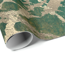 Emerald Cali Gold Marble Shiny Metallic Grungy VIP Wrapping Paper
