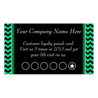 Emerald Chevron Discount Promotional Punch Card